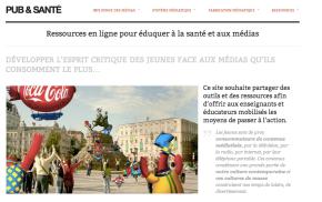 Site internet ressource éducation à la publicité www.pubetsante.fr